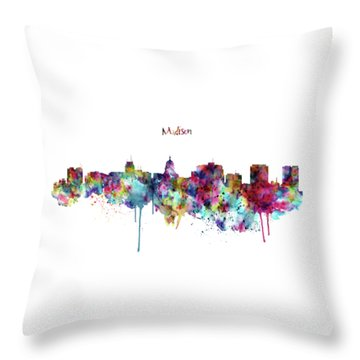 Throw Pillow featuring the mixed media Madison Skyline Silhouette by Marian Voicu