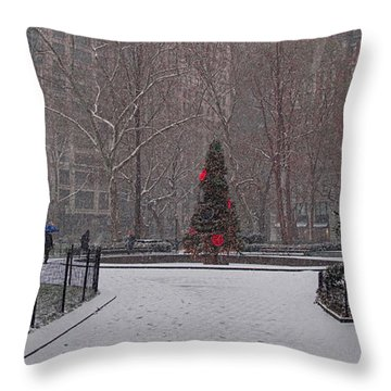 Madison Square Park In The Snow At Christmas Throw Pillow by Chris Lord
