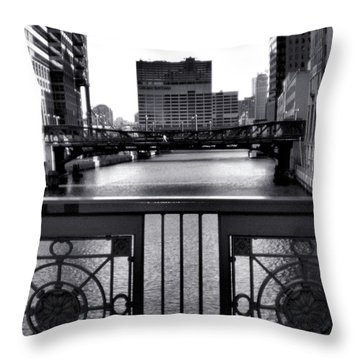 Madison Street Bridge - 3 Throw Pillow by Ely Arsha
