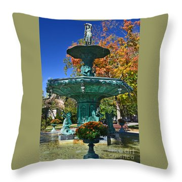 Madison Water Fountain In Fall Throw Pillow