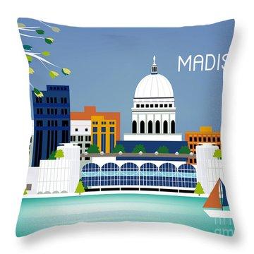 Madison Wisconsin Horizontal Skyline Throw Pillow by Karen Young