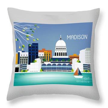 Madison Wisconsin Horizontal Skyline Throw Pillow