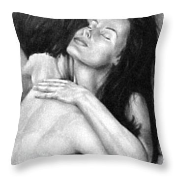 Madly In Love Couple- Black And White Drawing Throw Pillow
