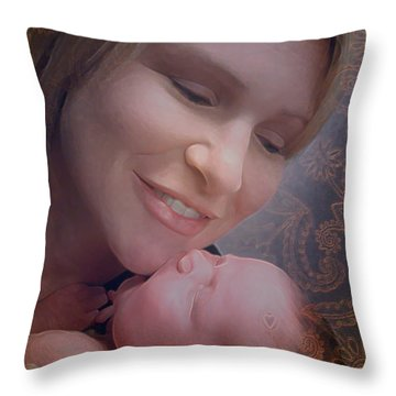Throw Pillow featuring the photograph Madonna And Child 2 by Kate Word