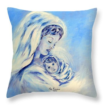 Madonna And Child By May Villeneuve Throw Pillow