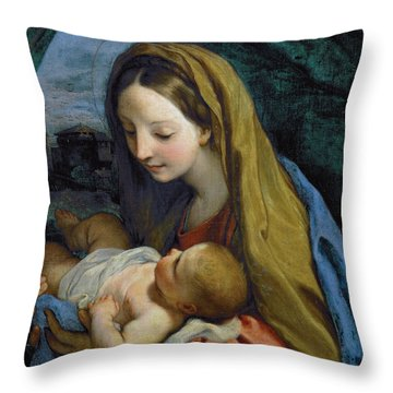 Throw Pillow featuring the painting Madonna And Child by Carlo Maratta