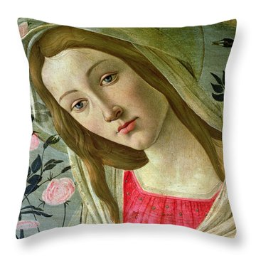 Madonna And Child Crowned By Angels Throw Pillow by Sandro Botticelli