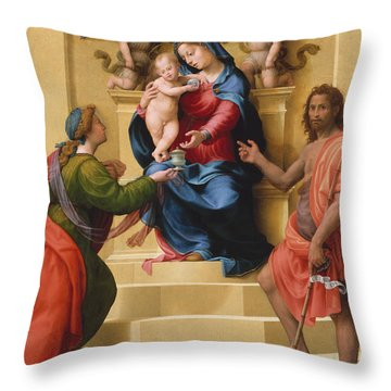 Madonna And Child Enthroned With Saints Mary Magdalene And John The Baptist Throw Pillow