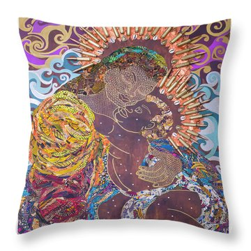 Madonna And Child The Sacred And Profane Throw Pillow
