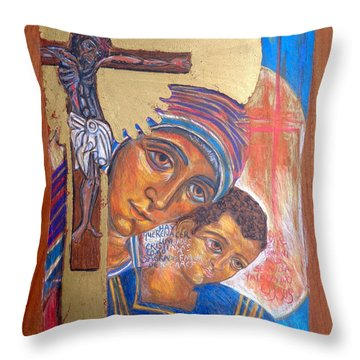 Madonna And Child With Crucifix Throw Pillow