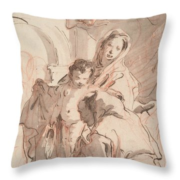 Madonna And Child With Saint Throw Pillow