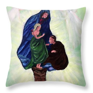 Madonna And Child With St Anthony Throw Pillow