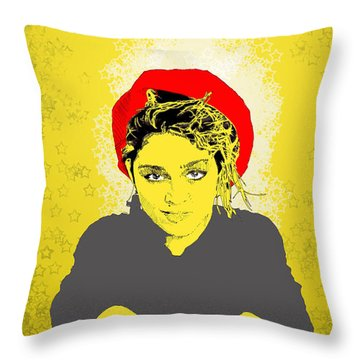 Madonna On Yellow Throw Pillow by Jason Tricktop Matthews