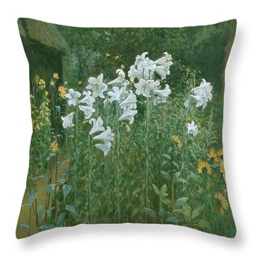 Madonna Lilies In A Garden Throw Pillow by Walter Crane