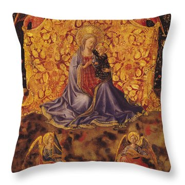 Madonna Of Humility With Christ Child And Angels Throw Pillow by Fra Angelico