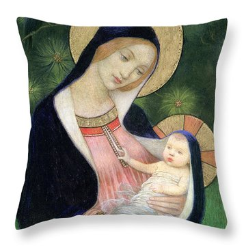 Madonna Of The Fir Tree Throw Pillow