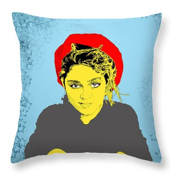 Madonna On Blue Throw Pillow by Jason Tricktop Matthews