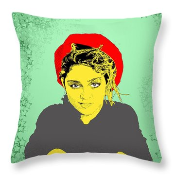 Madonna On Green Throw Pillow by Jason Tricktop Matthews