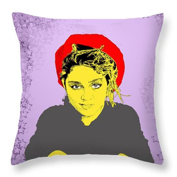 Madonna On Purple Throw Pillow by Jason Tricktop Matthews