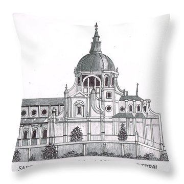 Madrid Cathedral Aimudena Throw Pillow