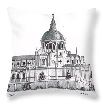 Madrid Cathedral Aimudena Throw Pillow by Frederic Kohli