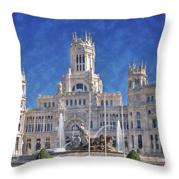 Madrid City Hall Throw Pillow by Joan Carroll