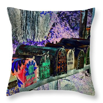 Madrid Mailboxes Throw Pillow by Jill Smith