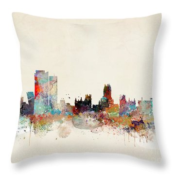 Throw Pillow featuring the painting Madrid Spain by Bri B