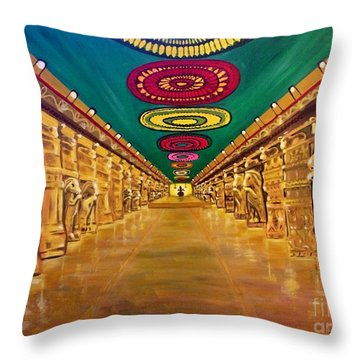 Madurai Meenakshi Temple Mandapam Throw Pillow