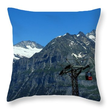 Maennlichen Gondola Calbleway, In The Background Mettenberg And Schreckhorn Throw Pillow