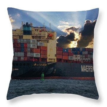 Maersk Sealand Leaving Charleston South Carolina Throw Pillow