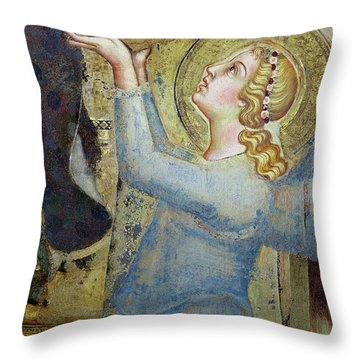Maesta  Angel Offering Flowers To The Virgin Throw Pillow