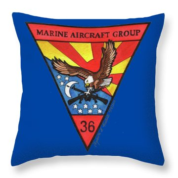 Throw Pillow featuring the painting Mag-36 Patch by Betsy Hackett