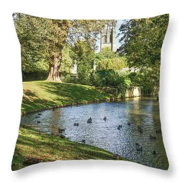 Magdalen From The River Cherwell Throw Pillow