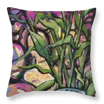 Magenta Bouquet On Mantel Throw Pillow