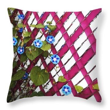 Throw Pillow featuring the photograph Magenta Chain-link by Shawna Rowe