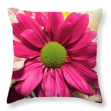 Magenta Chrysanthemum Throw Pillow