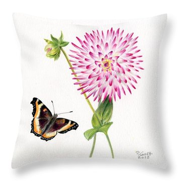 Magenta Dahlia With Butterfly Throw Pillow