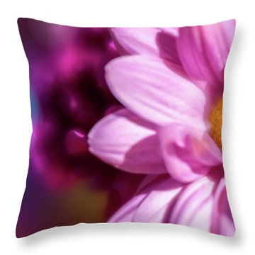 Magenta Floral On Blue Throw Pillow