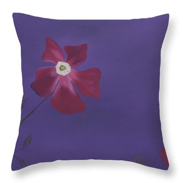 Magenta Flower On Plum Background Throw Pillow