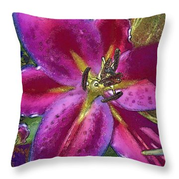 Throw Pillow featuring the photograph Magenta Flower by Paula Porterfield-Izzo