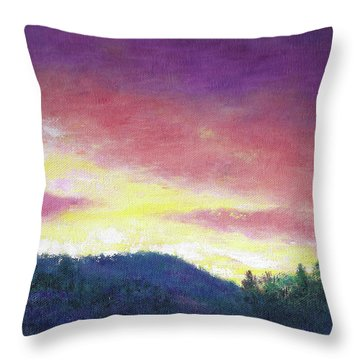 Magenta Sunset Oil Landscape Throw Pillow