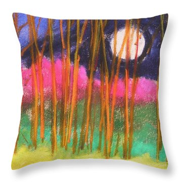 Magenta Treeline Throw Pillow by John Williams