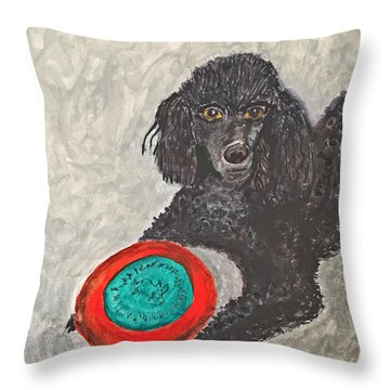 Maggie And Her Frisbee Throw Pillow