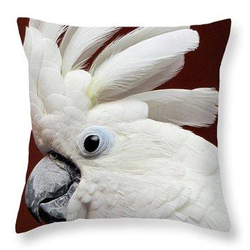 Maggie The Umbrella Cockatoo Throw Pillow