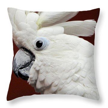 Maggie The Umbrella Cockatoo Throw Pillow