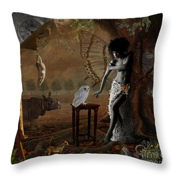 Throw Pillow featuring the digital art Maggie's World by Nola Lee Kelsey