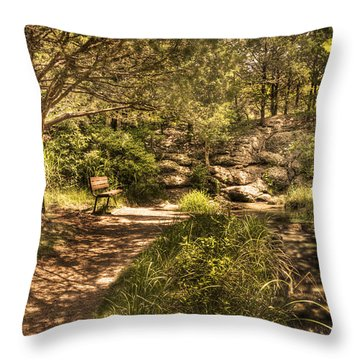 Throw Pillow featuring the photograph Magic Bench by Tamyra Ayles
