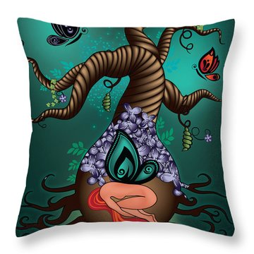 Magic Butterfly Tree Throw Pillow by Serena King