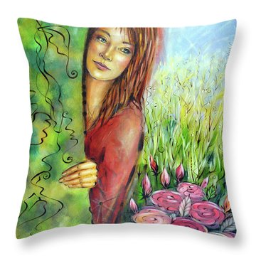 Throw Pillow featuring the painting Magic Garden 021108 by Selena Boron